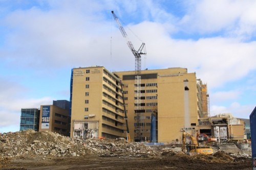 Demolition of the 'H' block continues