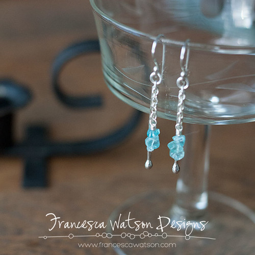 Blue Apatite Dangle Earrings by Francesca Watson Designs