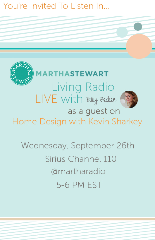 I'll be on Martha Stewart Radio!