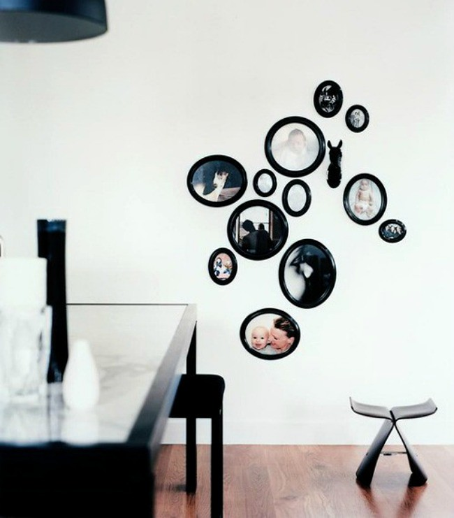 gallery walls by shape + colour