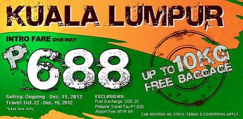 Zest Air Promo Fare to Kuala Lumpur