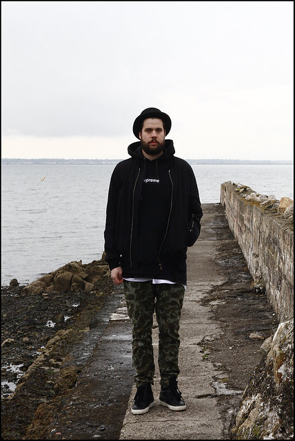 Tuukka13 - Sunday in Monkstown, Dublin - KVA High-Top Sneakers, Supreme Camo Pants, The OAK Layer Tank TOp, KVA Oversized T-Shirt, Supreme Box Logo Hoody and CA4LA Bowler Hat