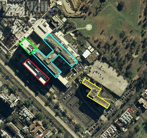 Aerial view of the former Royal Children's Hospital site in Melbourne
