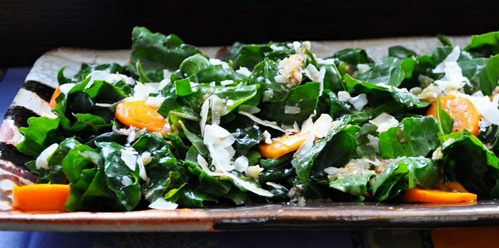 Chard and Persimmon Salad with Toasted Coconut and Maple Vinaigrette