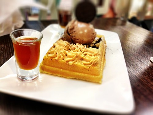 Peanut butter mousse waffle