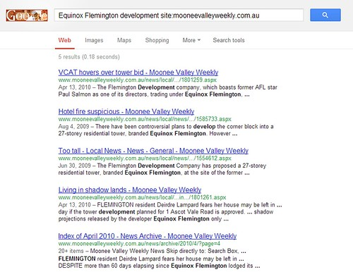 Broken search results from the 'Moonee Valley Weekly' website