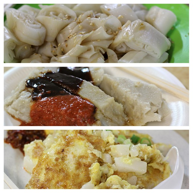 From top: Chee Cheong Fun, Fried Yam Cake, Fried Carrot Cake