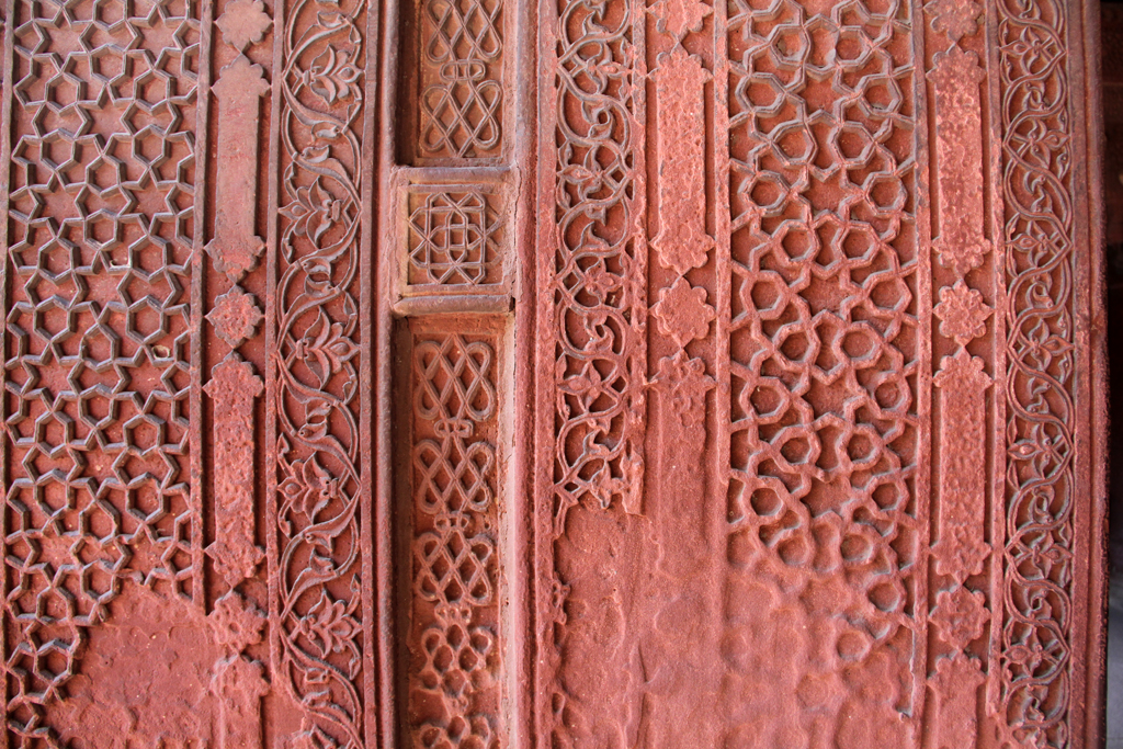 Carvings in the red sandstone
