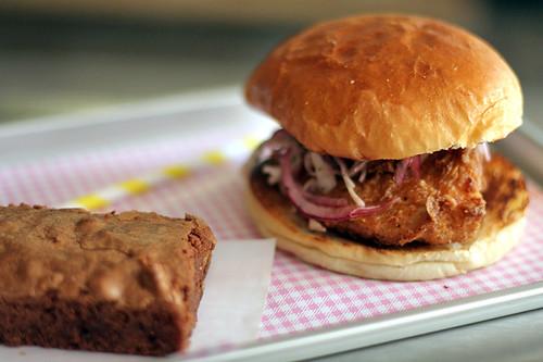 fried chicken sandwich at verjus