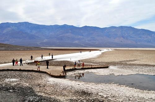 Visitors at Badwater Basin, Death Valley National Park, Calif.