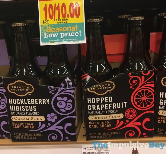 Private Selection Huckleberry Hibiscus Cream Soda and Hopped Grapefruit Cream Soda