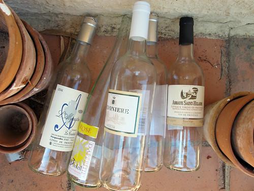 empty rosé bottles