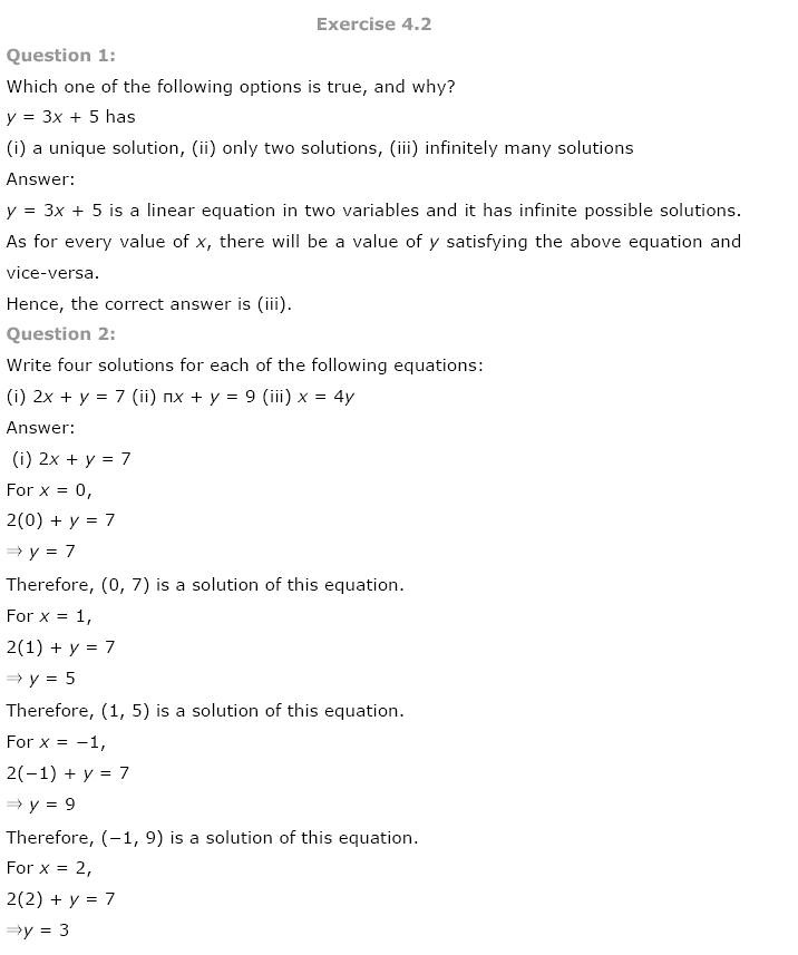 NCERT Solutions for Class 9th Maths: Chapter 4 Linear Equations in Two Variables