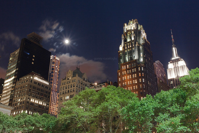 new york'ta dolunay, empire state binasi ve bryant park