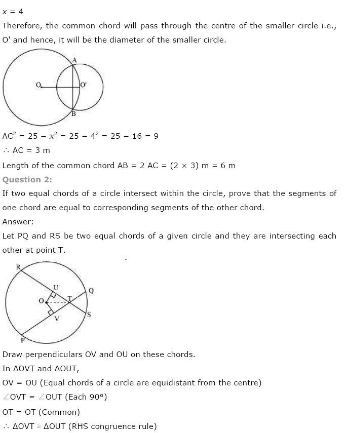 NCERT Solutions for Class 9th Maths: Chapter 10 Circles Image by AglaSem