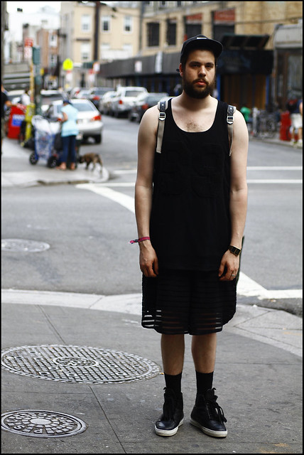 WDYWT - First Day in New York 2012 - Kris Van Assche Sneakers, RH The Label Shorts, Horace Tank Top Jersey, Kris Van Assche x Eastpak Backpak and Supreme x Starter Cap - 1
