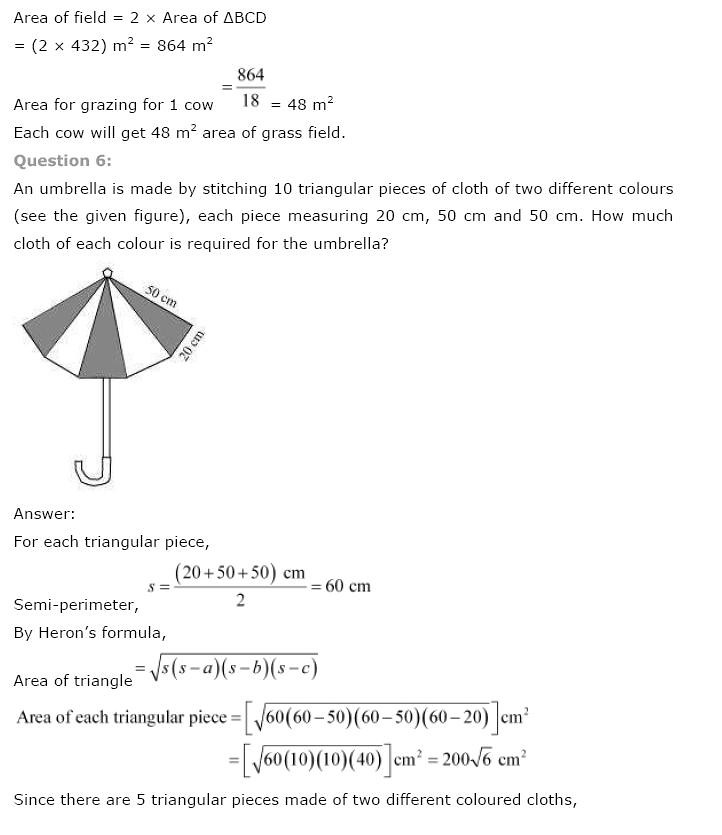 NCERT Solutions for Class 9th Maths: Chapter 12 Herons Formula