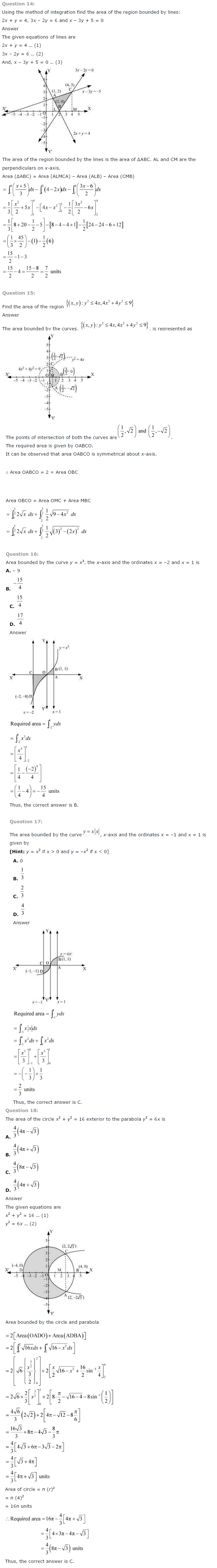 NCERT Solutions for Class 12th Maths Chapter 8   Application of Integrals