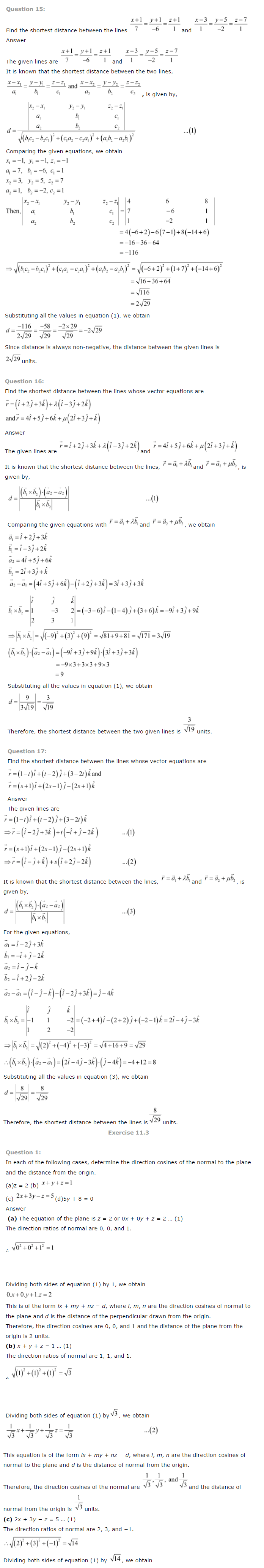 NCERT Solutions for Class 12th Maths Chapter 11   Three Dimensional Geometry