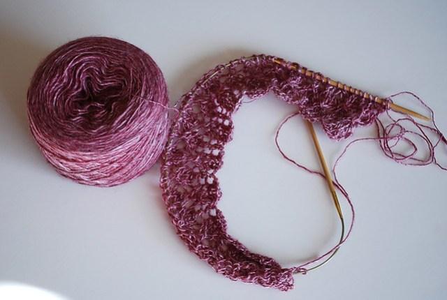 Hanspun lace scarf in progress