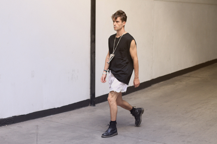 Alexander Wang top, Stella McCartney shorts, Givenchy necklace and septum, Dr Marten boots