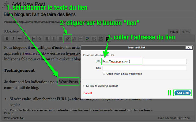WordPress: faire un lien