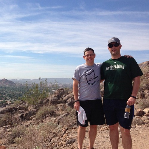 Tim and I hiking up Camelback Mountain with Anastasia.