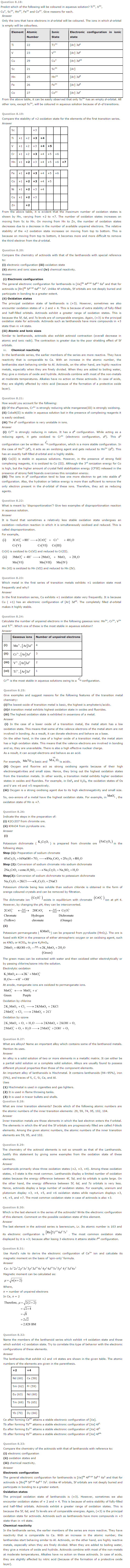 NCERT Solutions for Class 12th Chemistry Chapter 8 The d and f Block Elements