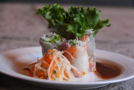 Prawn & Thai Basil Rice Paper Roll with tamarind sauce.