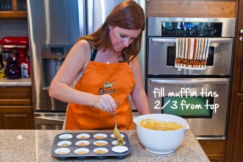fill muffin tins 2/3 from top