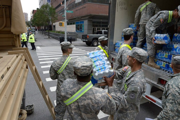 Governor Cuomo visits National Guard food distribution site at the 69th Regiment Armory