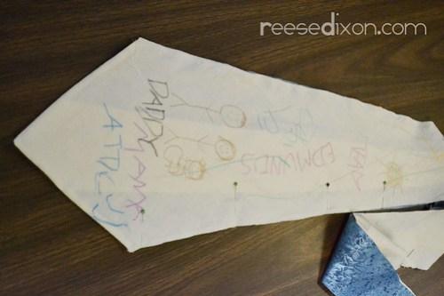 Kid's Artwork Tie Tutorial Step 6