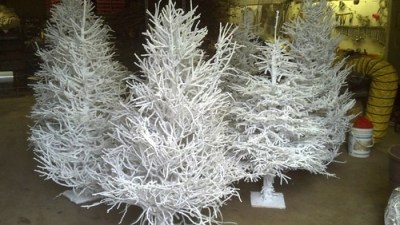 flocked twig trees