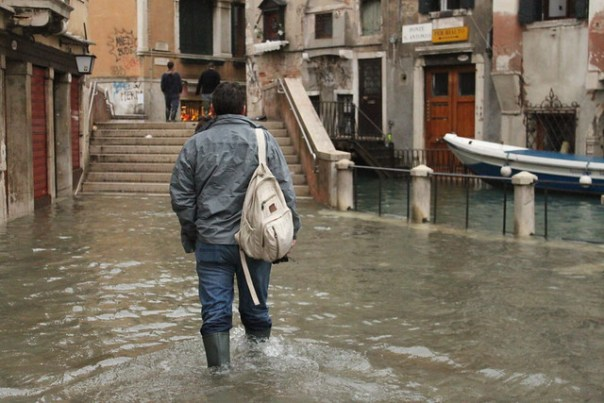 A in his wellies, Venice acqua alta 2012