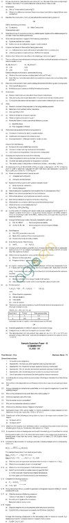 CBSE Board Exam Sample Question Papers Class XII - Chemistry