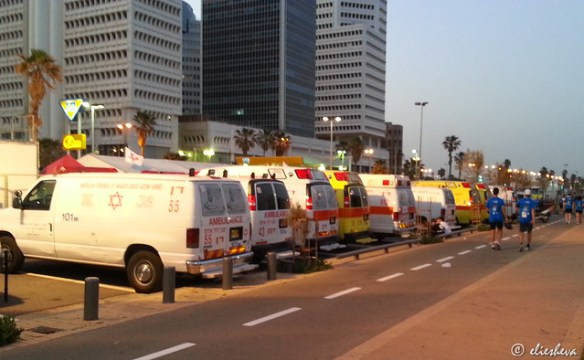 Ambulances lined up pre-Tel Aviv marathon