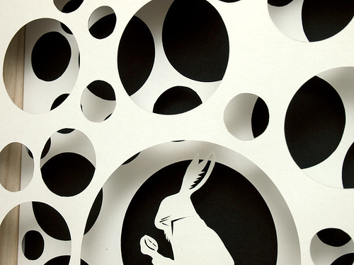 Paper cut work: The White Rabbit - detail