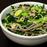 Soba Noodles with Ground Chicken and Greens