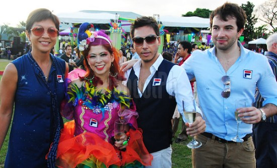 Tessa Prieto-Valdes and lifestyle and business icon Lucas Raven (wearing black vest) and friends.