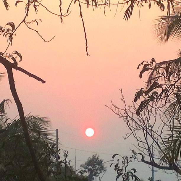 Quite the smoky evening as farmers burn their crops.