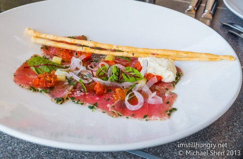 Cafe Sydney Herb crusted yellow fin tuna, lemon creme fraiche, red vein sorrel, avruga caviar, gazpacho dressing