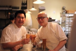 Chefs Angus An and Joël Watanabe, post service at St. Jack dinner, Chefs Week PDX