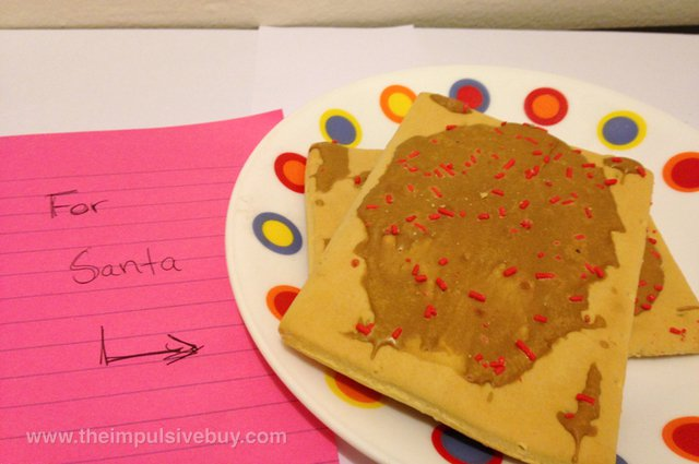 Kellogg's Pop-Tarts Gone Nutty Frosted PB & J Strawberry PBJ Santa's cookie plate