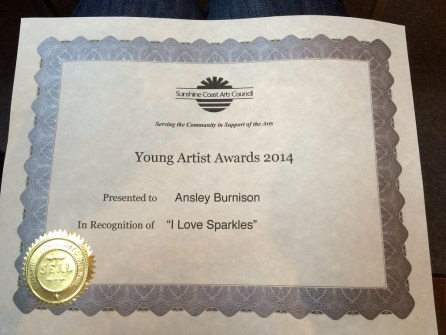 Ainsley's art award ceremony at the Sunshine Coast Art Council
