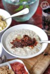 Wholegrain Barley and Oat Banana Porridge with Brown Sugar and Date Compote