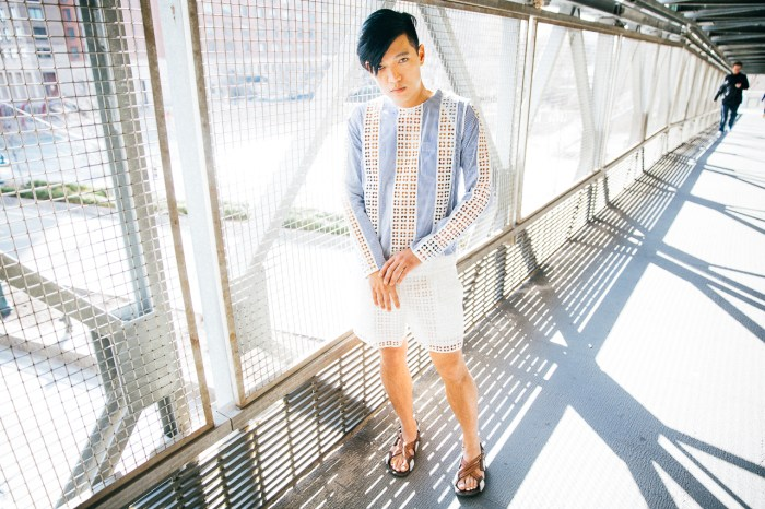 Sacai Luck pinstripe playsuit worn by fashion blogger Bryanboy