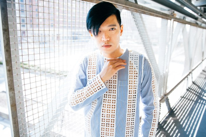 Bryanboy in a pinstripe Sacai playsuit