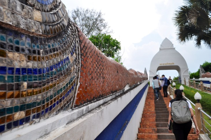 Walking the steps up to Wat Phra That Si Song Rak, Loei Province, Thailand. March 2015.