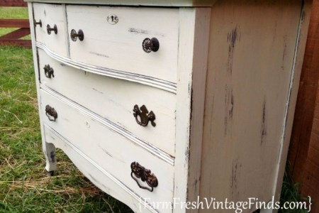 ... dresser transformed with white latex paint ... - Painting Furniture White Antique Look