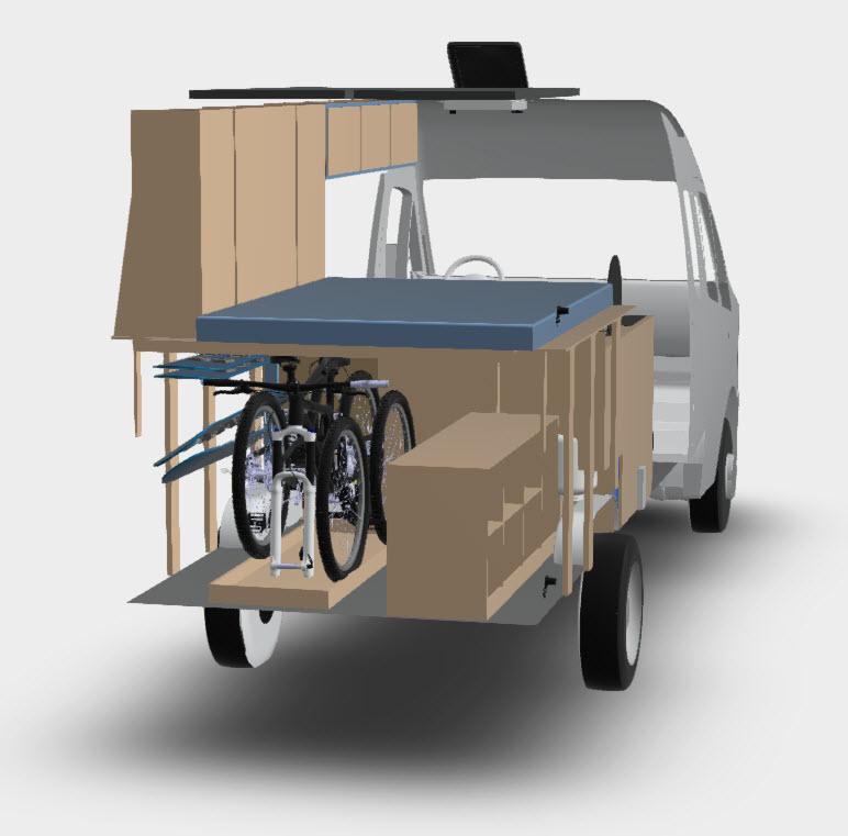 Ford Transit Van Conversion Slide-Out Bike Rack | FarOutRide